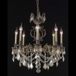 "Marseille Collection 8-Light 24"" Antique Bronze Chandelier with Golden Shadow Champagne Swarovski Strass Crystal 9508D24AB-GS/SS"