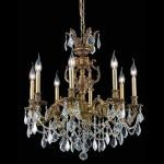 "Marseille Collection 8-Light 24"" French Gold Chandelier with Clear Elegant Cut Crystal 9508D24FG/EC"