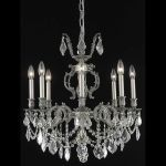 "Marseille Collection 8-Light 24"" Pewter Chandelier with Clear Elegant Cut Crystal 9508D24PW/EC"