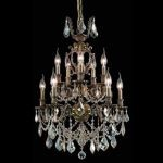 "Marseille Collection 10-Light 21"" Antique Bronze Chandelier with Golden Shadow Champagne Swarovski Strass Crystal 9510D21AB-GS/SS"