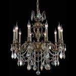 "Marseille Collection 10-Light 28"" Antique Bronze Chandelier with Golden Shadow Champagne Swarovski Strass Crystal 9510D28AB-GS/SS"