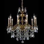 "Marseille Collection 10-Light 28"" French Gold Chandelier with Clear Elegant Cut Crystal 9510D28FG/EC"
