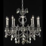 "Marseille Collection 10-Light 28"" Pewter Chandelier with Golden Teak Smoky Swarovski Strass Crystal 9510D28PW-GT/SS"