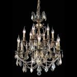 "Marseille Collection 12-Light 24"" Antique Bronze Chandelier with Golden Shadow Champagne Swarovski Strass Crystal 9512D24AB-GS/SS"