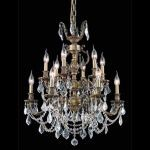 "Marseille Collection 12-Light 24"" Antique Bronze Chandelier with Clear Elegant Cut Crystal 9512D24AB/EC"