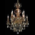 "Marseille Collection 12-Light 24"" French Gold Chandelier with Golden Teak Smoky Swarovski Strass Crystal 9512D24FG-GT/SS"