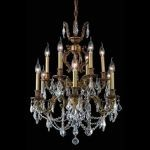 "Marseille Collection 12-Light 24"" French Gold Chandelier with Clear Elegant Cut Crystal 9512D24FG/EC"
