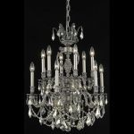 "Marseille Collection 12-Light 24"" Pewter Chandelier with Golden Teak Smoky Swarovski Strass Crystal 9512D24PW-GT/SS"