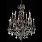"Marseille Collection 16-Light 28"" Antique Bronze Chandelier with Golden Shadow Champagne Swarovski Strass Crystal 9516D28AB-GS/SS"