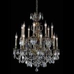 "Marseille Collection 16-Light 28"" Antique Bronze Chandelier with Clear Elegant Cut Crystal 9516D28AB/EC"
