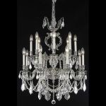 "Marseille Collection 16-Light 28"" Pewter Chandelier with Clear Elegant Cut Crystal 9516D28PW/EC"