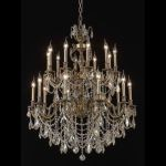 "Marseille Collection 20-Light 36"" Antique Bronze Chandelier with Golden Shadow Champagne Swarovski Strass Crystal 9520G36AB-GS/SS"