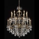 "Marseille Collection 20-Light 36"" Antique Bronze Chandelier with Clear Elegant Cut Crystal 9520G36AB/EC"