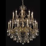 "Marseille Collection 20-Light 36"" French Gold Chandelier with Golden Teak Smoky Swarovski Strass Crystal 9520G36FG-GT/SS"