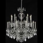 "Marseille Collection 20-Light 36"" Pewter Chandelier with Clear Elegant Cut Crystal 9520G36PW/EC"