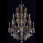 "Marseille Collection 24-Light 38"" Antique Bronze Chandelier with Golden Shadow Champagne Swarovski Strass Crystal 9524G38AB-GS/SS"