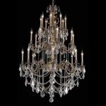 "Marseille Collection 24-Light 38"" Antique Bronze Chandelier with Clear Elegant Cut Crystal 9524G38AB/EC"