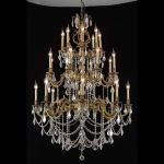"Marseille Collection 24-Light 38"" French Gold Chandelier with Golden Teak Smoky Swarovski Strass Crystal 9524G38FG-GT/SS"
