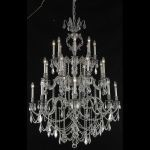 "Marseille Collection 24-Light 38"" Pewter Chandelier with Clear Elegant Cut Crystal 9524G38PW/EC"