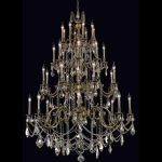 "Marseille Collection 32-Light 48"" Antique Bronze Chandelier with Clear Elegant Cut Crystal 9532G48AB/EC"
