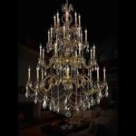 "Marseille Collection 32-Light 48"" French Gold Chandelier with Golden Teak Smoky Swarovski Strass Crystal 9532G48FG-GT/SS"