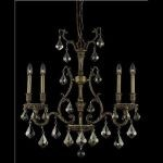 "Monarch Collection 4-Light 6"" French Gold Chandelier with Golden Teak Smoky Swarovski Strass Crystal 9604D26FG-GT/SS"
