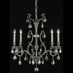 "Monarch Collection 4-Light 6"" Pewter Chandelier with Golden Teak Smoky Swarovski Strass Crystal 9604D26PW-GT/SS"
