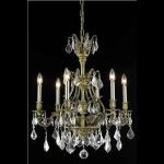 "Monarch Collection 6-Light 24"" Antique Bronze Chandelier with Golden Shadow Champagne Swarovski Strass Crystal 9606D24AB-GS/SS"