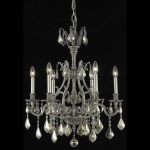 "Monarch Collection 6-Light 24"" Pewter Chandelier with Golden Teak Smoky Swarovski Strass Crystal 9606D24PW-GT/SS"
