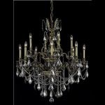 "Monarch Collection 12-Light 35"" Antique Bronze Chandelier with Silver Shade Grey Swarovski Strass Crystal 9612D35AB-SS/SS"