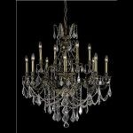 "Monarch Collection 12-Light 35"" Antique Bronze Chandelier with Golden Shadow Champagne Swarovski Strass Crystal 9612D35AB-GS/SS"