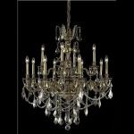 "Monarch Collection 12-Light 35"" French Gold Chandelier with Golden Teak Smoky Swarovski Strass Crystal 9612D35FG-GT/SS"