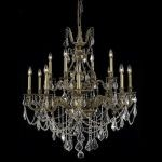 "Monarch Collection 12-Light 35"" French Gold Chandelier with Clear Elegant Cut Crystal 9612D35FG/EC"