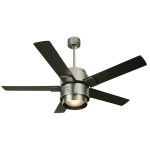 "Silo Series 56"" Brushed Aluminum Ceiling Fan with Black Blades and Integrated Light Kit SI56BA5"