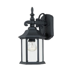"Devonshire Collection 1-Light 14"" Black Outdoor Wall Lantern 2961-BK"