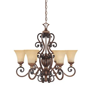"Montreaux Collection 6-Light 28"" Burnished Walnut Chandelier with Navajo Dust Glass 81586-BWG"