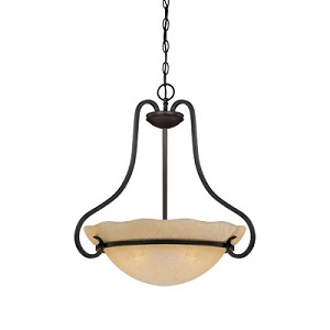 "Lauderhill Collection 3-Light 22"" Natural Iron Pendant with Warm Amber Glaze Glass 84731-NI"