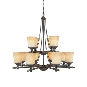 "Austin Collection 12-Light 36"" Weathered Saddle Chandelier with Satin Crepe Glass 973812-WSD"