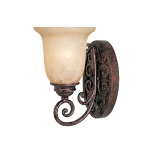 "Amherst Collection 1-Light 6"" Burnt Umber Wall Sconce with Antique Harvest Beige Glass 97501-BU"