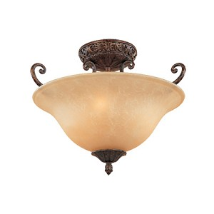 "Amherst Collection 3-Light 17"" Burnt Umber Semi-Flush Mount with Antique Harvest Beige Glass 97511-BU"