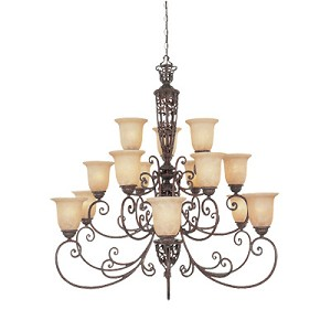 "Amherst Collection 15-Light 42"" Burnt Umber Chandelier with Antique Harvest Beige Glass 975815-BU"