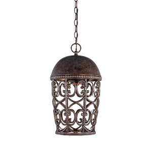 "Amherst Dark Sky Collection 1-Light 17"" Burnt Umber Spanish-Style Outdoor Hanging Lantern 97594-BU"