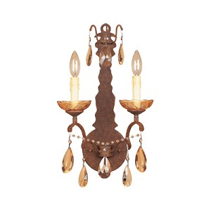 "Bollo Collection 2-Light 11"" Venetian Bronze Wall Sconce with Antiqued Amber Crystal Drops 98302-VBR"