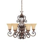 Montreaux Collection Burnished Walnut Chandelier with Navajo Dust Glass