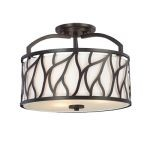 "Modesto Collection 3-Light 14"" Artisan Semi-Flush Mount with White Opal Glass 83711-ART"