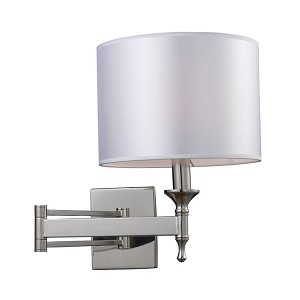 "Pembroke Collection 1-Light 15"" Polished Nickel Swing Arm Wall Sconce with Silver Drum Shade 10160/1"