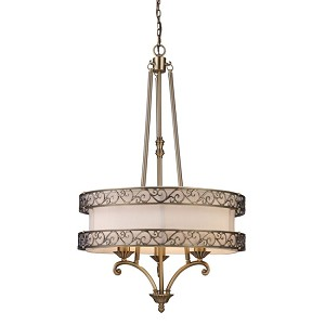 "Abington Collection 3-Light 40"" Filigree Antique Brass Pendant with Drum Shade 10125/5"