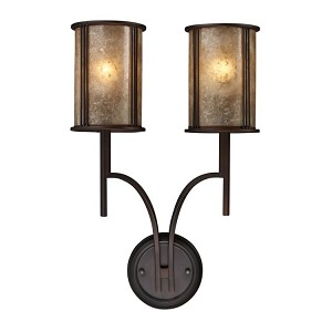 "Barringer Collection 2-Light 22"" Aged Bronze Wall Sconce with Mica Shade 15030/2"