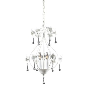 "Roxanna Collection 3-Light 14"" Antique White Mini Crystal Chandelier 18098/3"