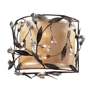 "Circeo Collection 2-Light 11"" Deep Rust Floral Wall Sconce with Crystal 18130/2"